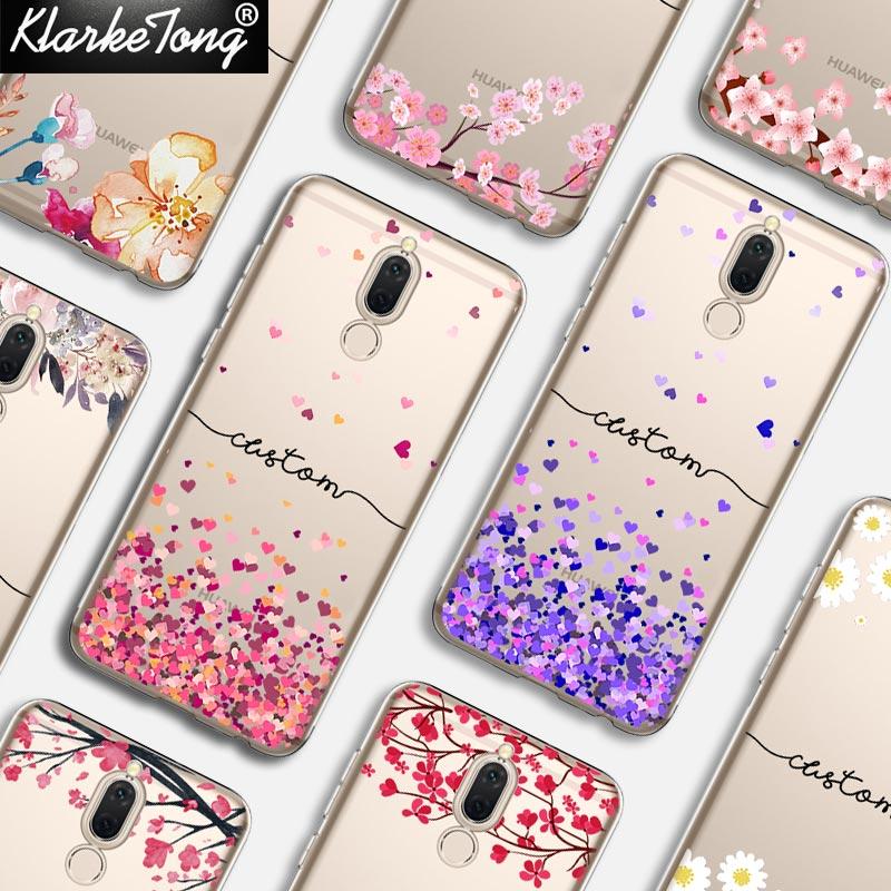 Flor DIY Nome Personalizado Caixa Do Telefone Para Huawei P10 lite P8 P9 P20 pro companheiro 10 lite Impressão Personalizada Silicone Macio cobrir