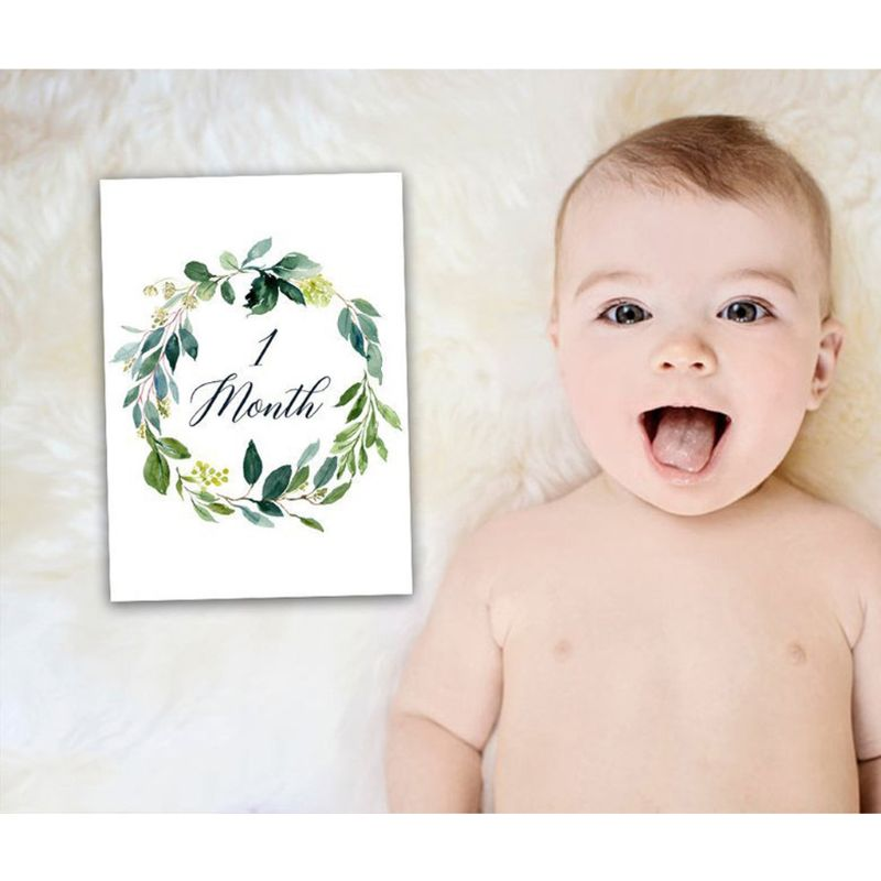 12 Pcs/Set Month Card Baby Monthly Newborn Photos Funny Cartoon Photography Photo Cards Stickers(China)