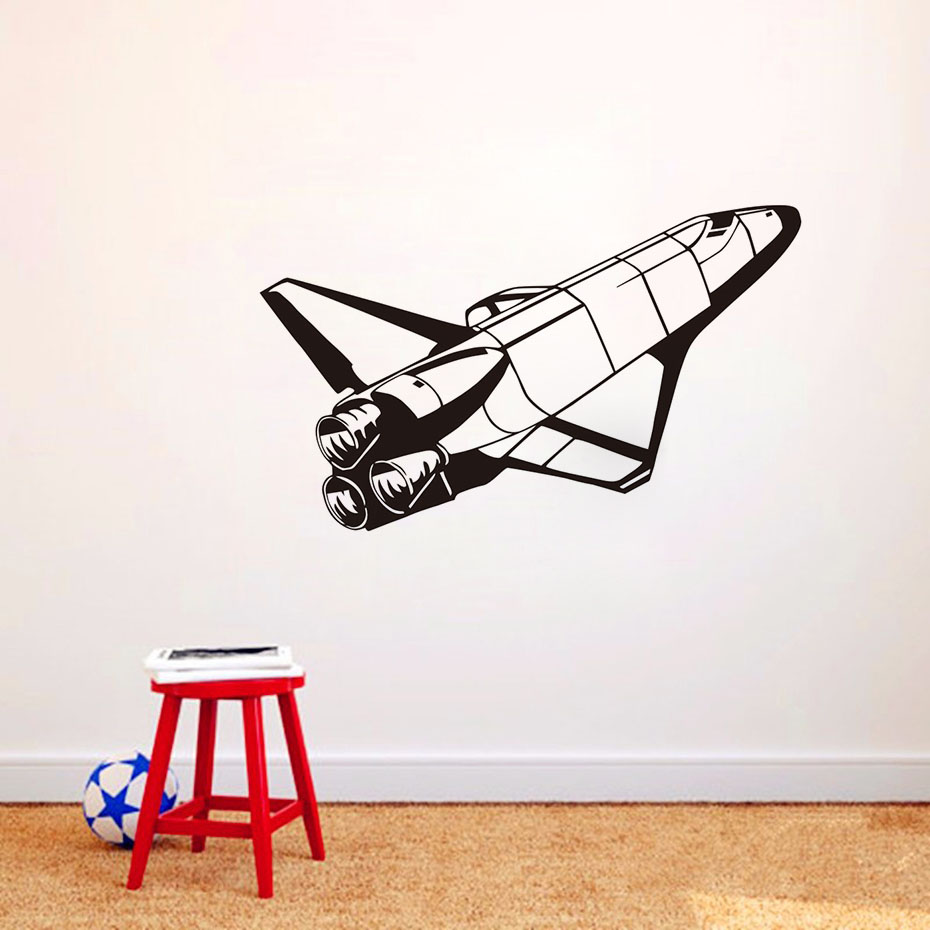 Free Shipping Space Shuttle Space Wall Stickers For Kids Rooms Rocket Murals  Wall Decals Vinyl Removable