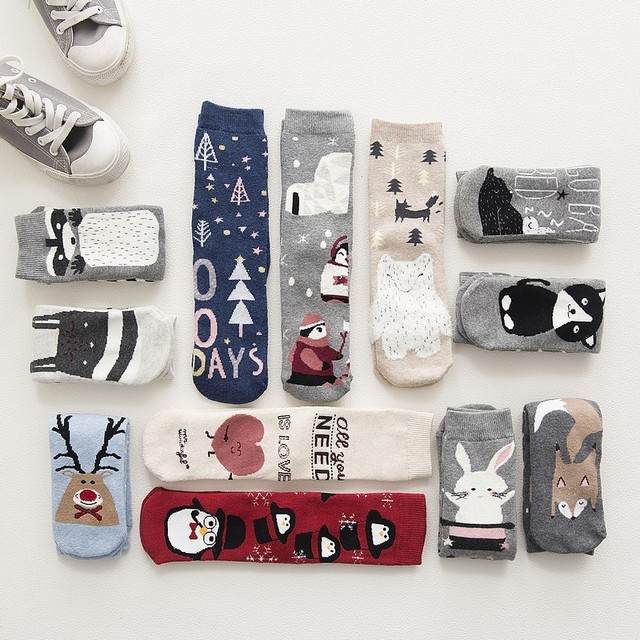 Women Warm Cotton Socks Lovely Animal Pattern Autumn Winter Cartoon Christmas Gifts Thick Adult Mid-calf New Christmas Socks