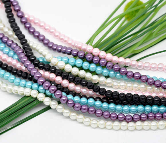 Doreen Box 5 Strands Mixed Round Glass Pearl Beads 6mm 82cm length (B08879)