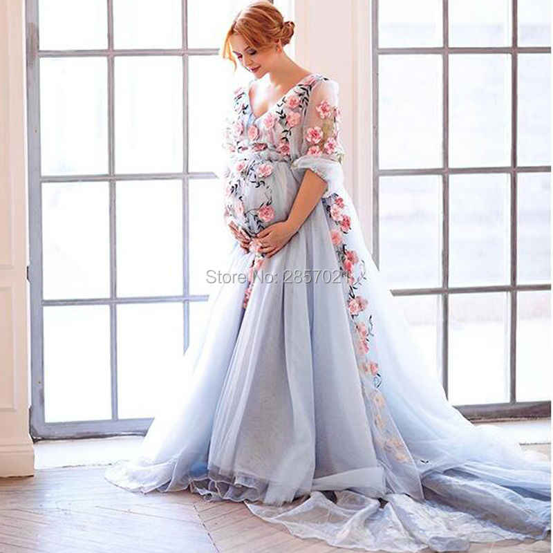Blue Organza Pregnant Evening Dress Fashion Couture Embroidered Floral Prom  Dresses Plus Size Maternity Formal Party Gowns