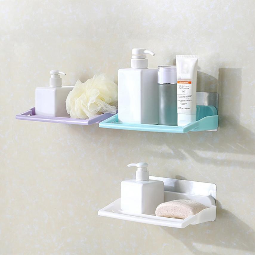 Plastic Bathroom Shower Shelf Suction Cup Bathroom Storage Rack Shelf Kitchen Corner Storage