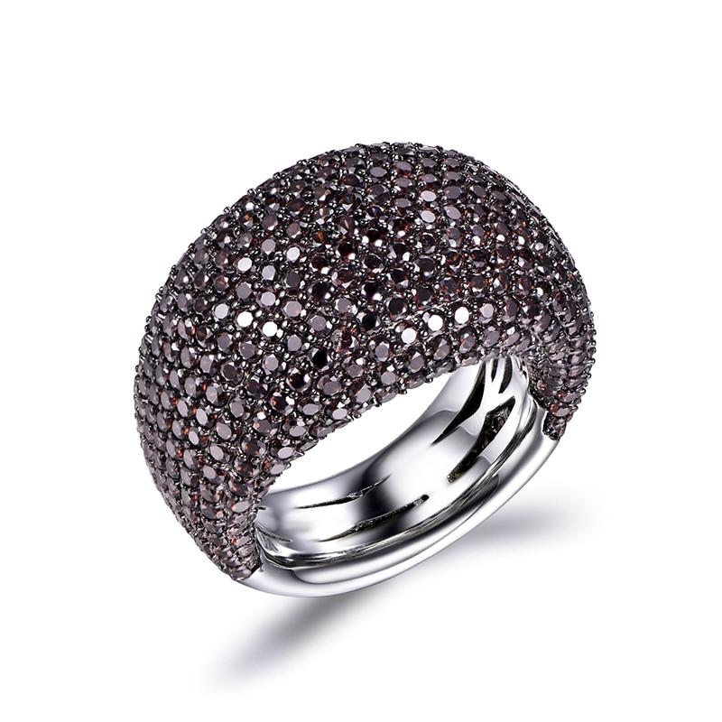 TKJ Fashion Black Spinel Ring Real 925 Sterling Silver Gemstone Rings For Women Round Stones Wedding