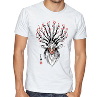 No Face Man God Deer Ink Painting T Shirt O Neck Cool Tops Hipster Hot Tops