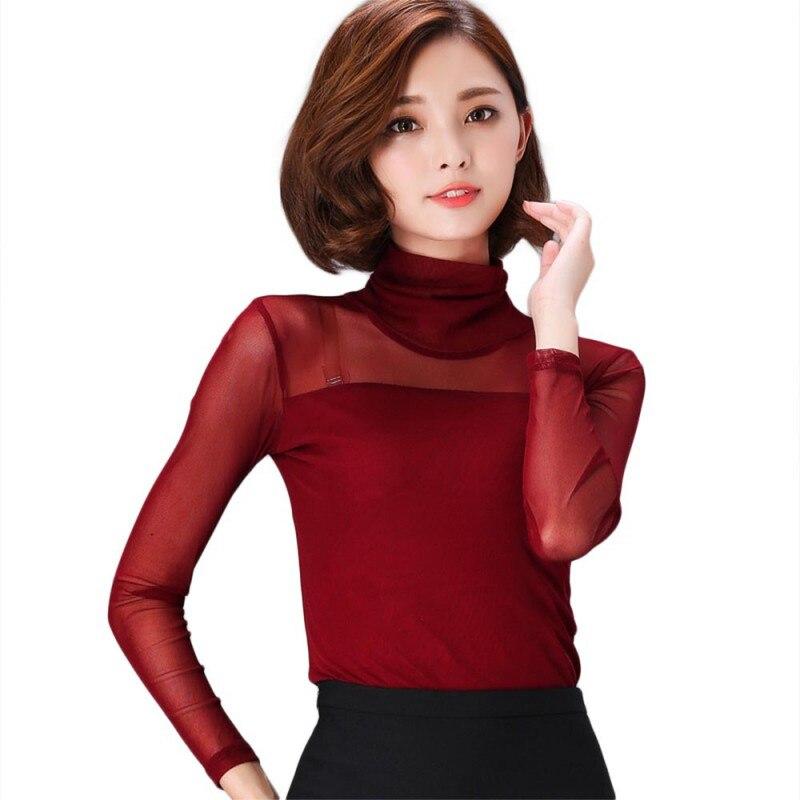9464d6ad83f7aa Women Blouse Shirt Women Mesh Sheer Top Sexy Long Shirt Casual Long Sleeve  Lace Blouse For Office Working Plus Size 1009