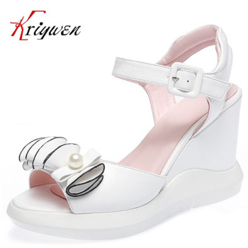 Sweet girls princess bowtie Wedges Sandals lady Open Toe Summer Shoes Fashion Buckle Platform Thick Soled party bridal Shoes big toe sandal