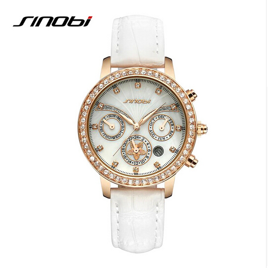 SINOBI Top Luxury Rhinestone Fashion Gold Watch Women Watches Leather Strap Auto Date Quartz Watch Lady Hour relogio feminino heavy duty 60v 600a marine dual battery selector switch for boat rv semi motor yacht boats red abd black page 5