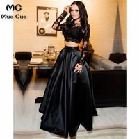 Black 2018 Two Pieces Gown Long Sleeve Evening Dresses Long Satin Floor Length Zipper Back Formal Evening Party Dress for Women