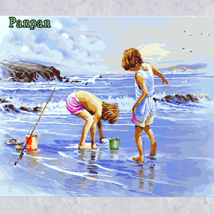 Frameless Pictures On Wall Summer Beach 40*50cm DIY Digital Oil Painting by Numbers Kids room Decoration Cuadors Christmas Gift