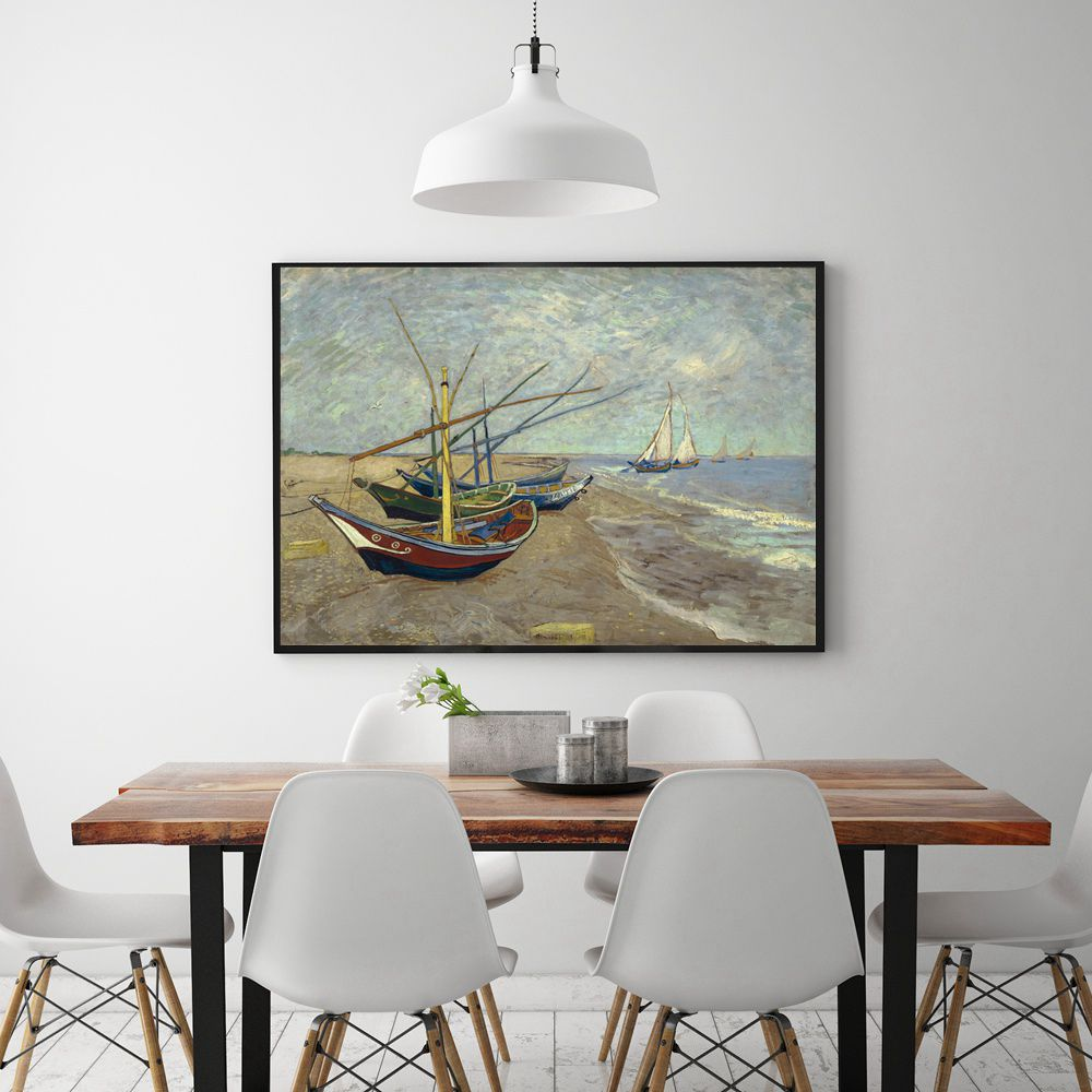 Famous Artist Van Gogh Reproduction Fishing Boats at St Mary 39 s Beach Oil Paintng Print Canvas Wall Art for Home Decor Best Gift in Painting amp Calligraphy from Home amp Garden