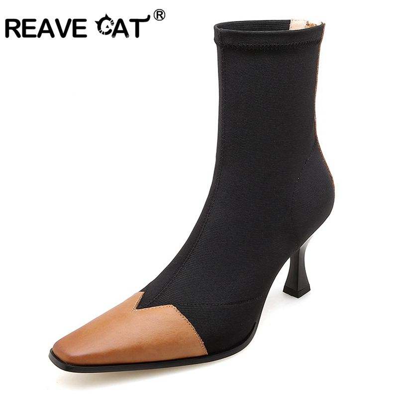 REAVE CAT Ankle Sock Boots Genuine Leather Patchwork Stretch Fabric Hosiery Boots for Women Botas Feminina mujer J313