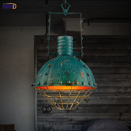 IWHD Iron Vintage Pendant Light Fixtures Loft Style Industrial Glass Hanglamp Green Kitchen Retro Lamp Dining Room Luminaire iron cage loft style creative led pendant lights fixtures vintage industrial lighting for dining room suspension luminaire