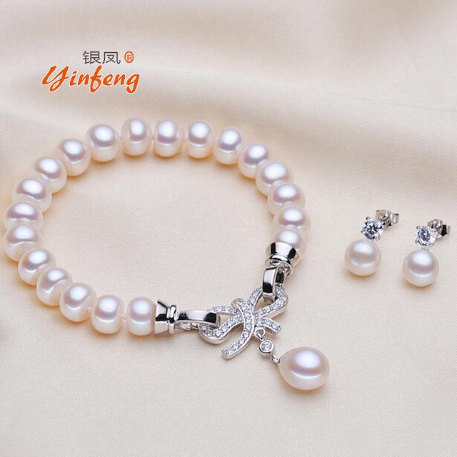 [Yinfeng] pulseira de pérolas de Água Doce e brincos conjunto de Jóias para as mulheres charme Da Moda Arco Zircão acessórios aniversário da senhora presente