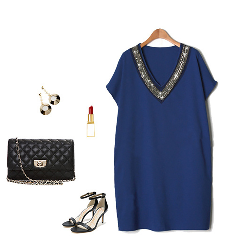 Fashion v neck Women 39 s dress ladies OL professional large size women 39 s blue sequins short sleeved loose summer dress women in Dresses from Women 39 s Clothing