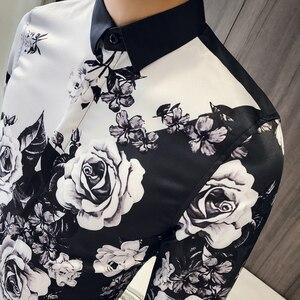 Image 3 - 품질 한국 턱시도 셔츠 남성 긴 소매 슬림 맞는 인쇄 남자의 사회 셔츠 캐주얼 나이트 클럽 가수 무대 의상 블라우스 3xl