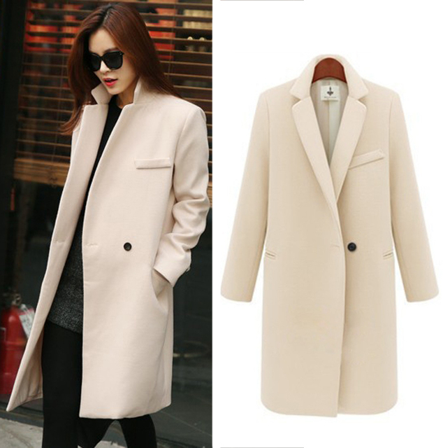 Fashion 2015 Women Wool Coat Overcoat Long Sleeve Overcoat Single Button Turn-Down Collar Casual Worsted Outerwear Coat