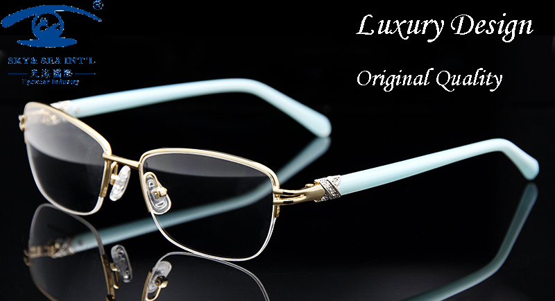 fashion brand designer eyeglasses frame women luxury diamond womens golden half rim glasses frames prescription eyewear rx