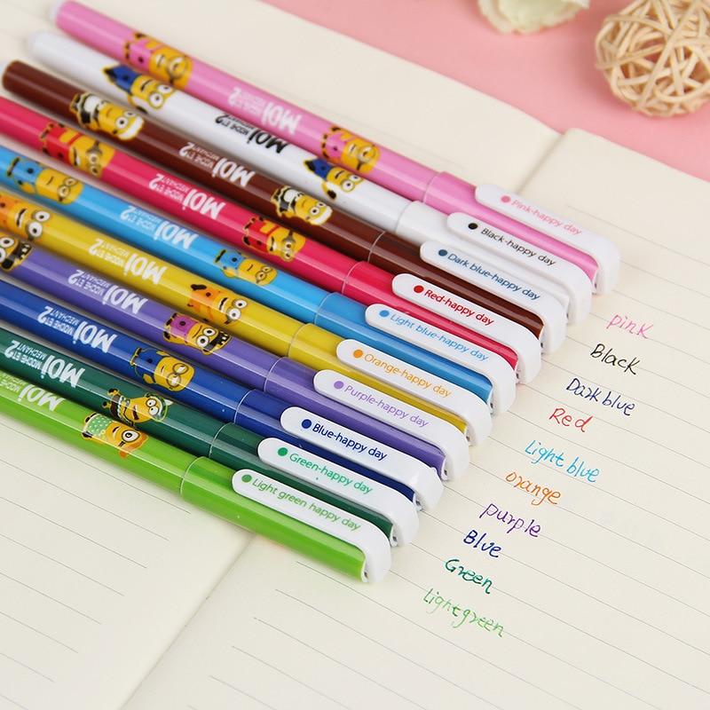 10 Pcs/lot Cute Minions Gel Pen Cartoon 10 Color Ink Pens Cas