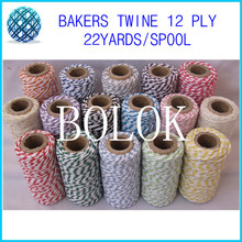 20pcs/lot (total 400meter) cotton Bakers twine (22yards/spool) for gift packing 20 kinds color choose by china post
