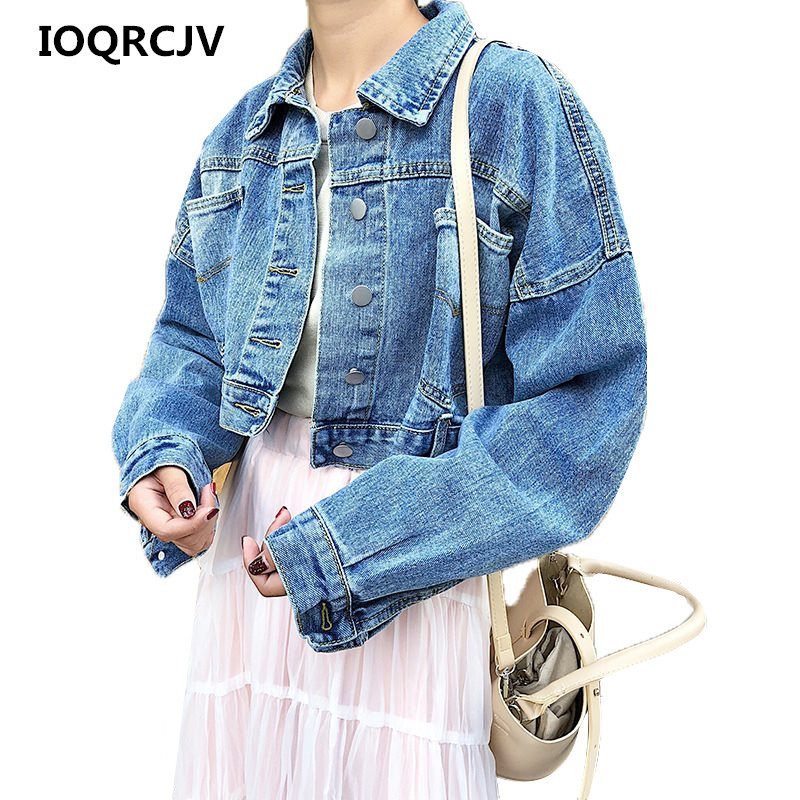 Women Short Denim   Jacket   Coat 2019 Autumn New Falling Shoulder Sleeve Denim   Basic     Jacket   Single-Breast Slim Casual Outwear R254