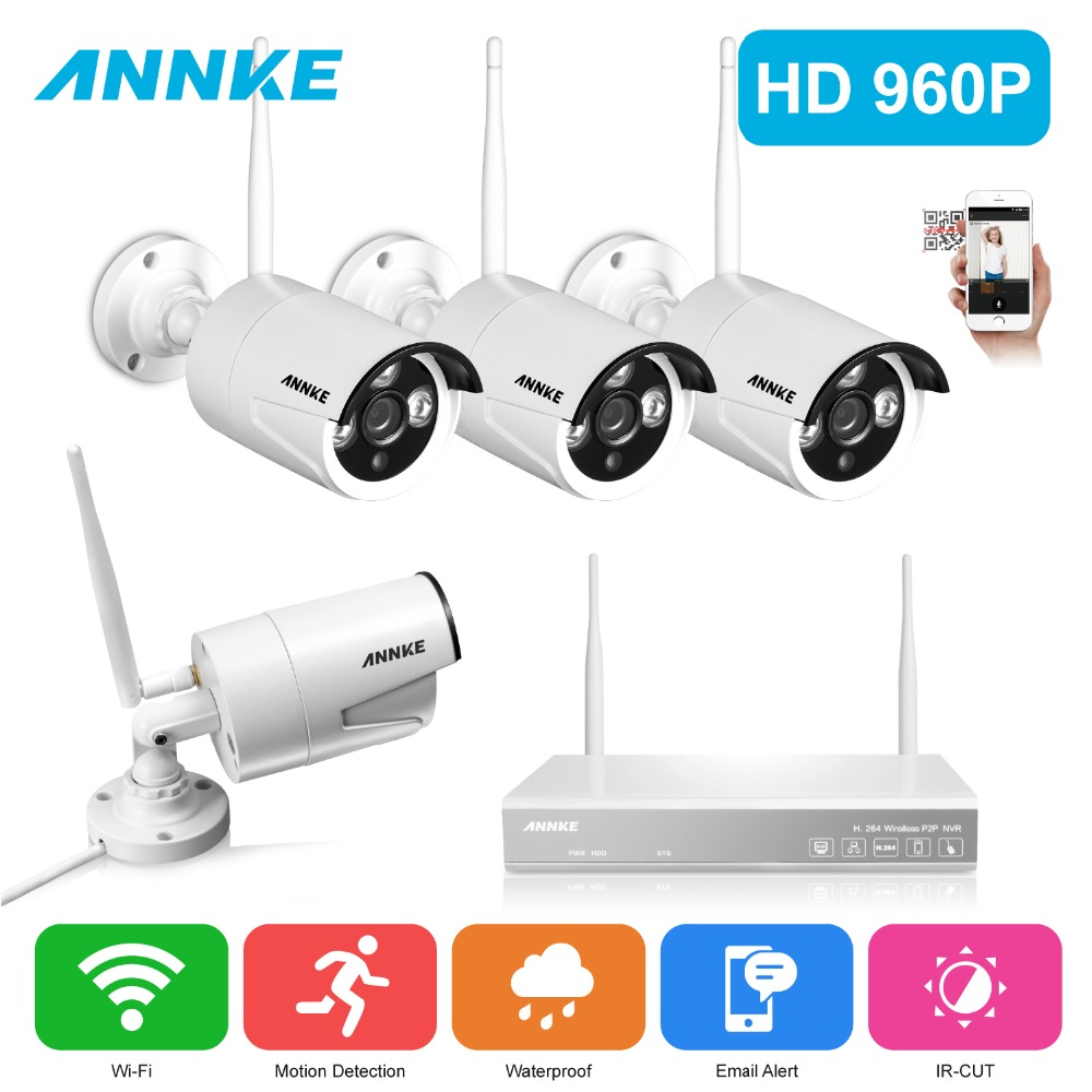 ANNKE 4CH 960P HD Wireless Network  IP CCTV Security Camera System Indoor Outdoor 4pcs wifi IP cameras Video Surveillance kits zipower pm 4161