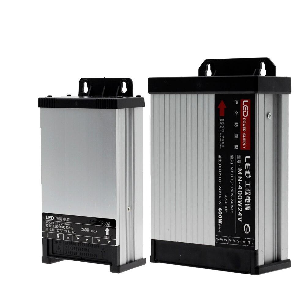 LED Driver 12 24 V adaptateur d'alimentation transformateurs d'éclairage DC 12 V 24 V puissance 5A 8A 10A 15A 20A alimentation extérieure étanche à la pluie