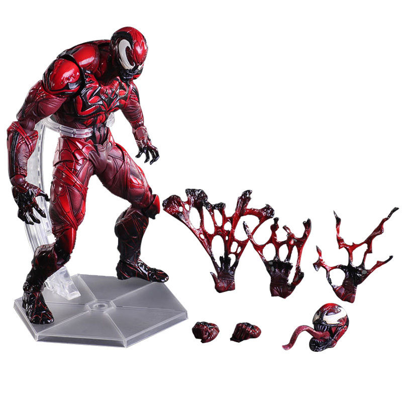 Play Arts Spider Man Figure Spider Venom RED LIMITED Spiders PA Secret Wars Peter Parker 23cm Action Figure Doll Toys Kids Gift