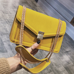 Retro moda feminina praça saco 2019 nova alta qualidade fosco couro do plutônio designer bolsa de ombro corrente sacos mensageiro