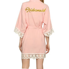 Cotton Bridesmaid Robes With Lace Trim Women Wedding Bridal Robe  WITH GOLD 001