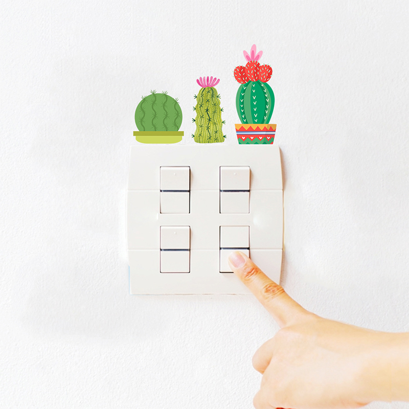 Garden Bonsai Cactus Butterfly Light Switch Stickers For Home Decoration Accessories Living Room PVC Cup Decals Mural Art Poster in Wall Stickers from Home Garden