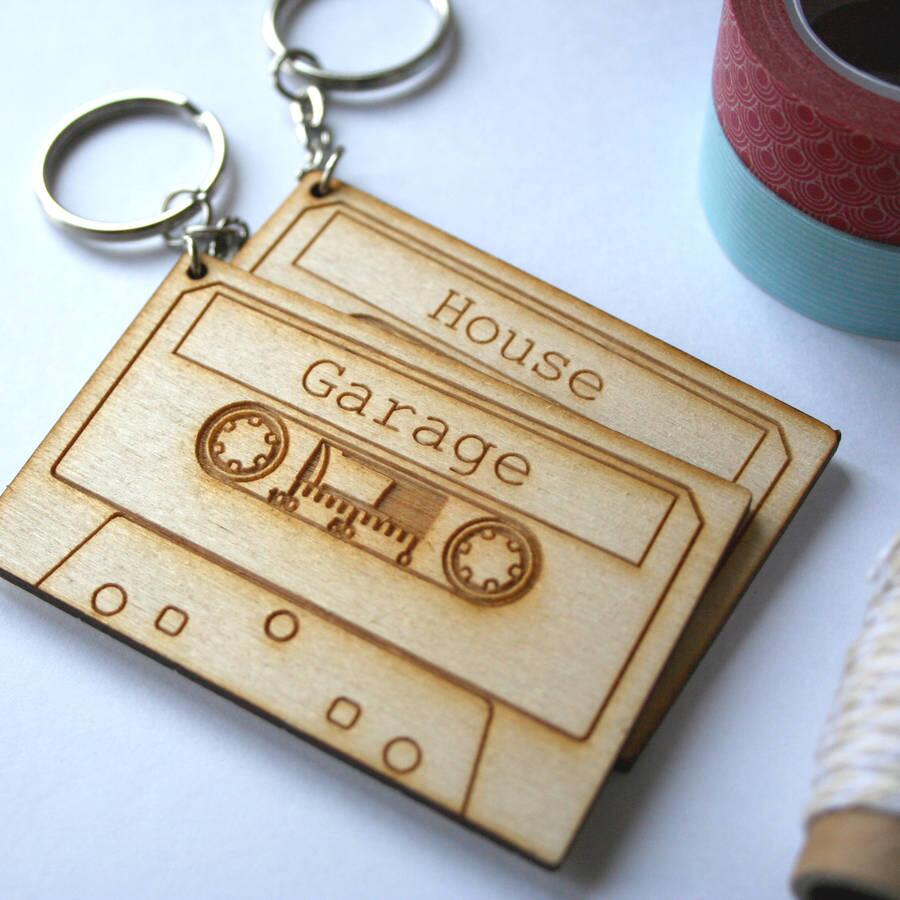 Us 8 09 10 Off Laser Cut Engrave Cassette Tape Key Rings Wooden Music Lover Tags Gift Key Rings Key Chain In Party Favors From Home Garden On