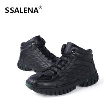 Men Winter Lace Up Ankle Boots Male Soft Leather Motorcycle Boots Shoes Men Thick Bottom Wearable High Top Shoes AA60527