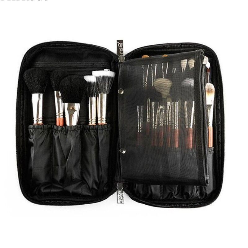LHLYSGS Professional Beauty Makeup Brush Set Cosmetic Bag Organizer Makeup Artist Case With <font><b>Belt</b></font> Strap Multi-pocket Makeup Bag image