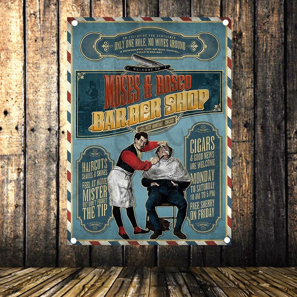Adattabile Vintage Barber Negozio Di Poster Di Alto Livello Di Arte Del Panno Impermeabile Pittura Grande Bandiera Banner Arazzo Wall Stickers Murale Decorazione Della Parete