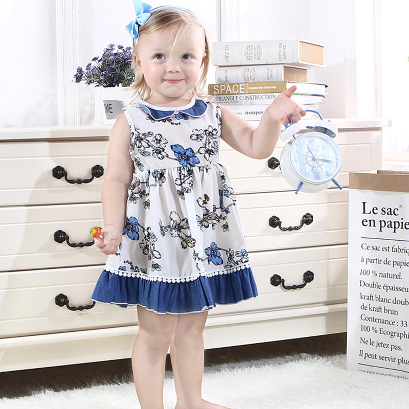 Ins hot girls summer dresses Europe and the United States Cotton Doll collar print flower dress cute Sleeveless pleated tank top