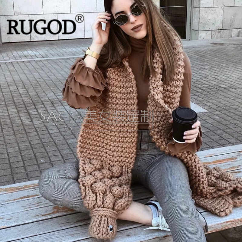 RUGOD 2018 New Autumn Winter Knitted Scarf Women Luxury Handmade Crochet Scarf Ladies Warm Scarves Fashion Soft Long Scarf