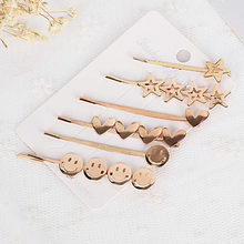 Korea Simple Hairpins For Girls Hollow Star Heart Shape Hair Clips Elegant Hairpins Barrette Hair Styling Tool Accessories(China)