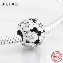 New 925 Sterling Silver Fashion hollow out white Enamel flower zircon beads Fit Original Pandora Charm Bracelet Jewelry making(China)