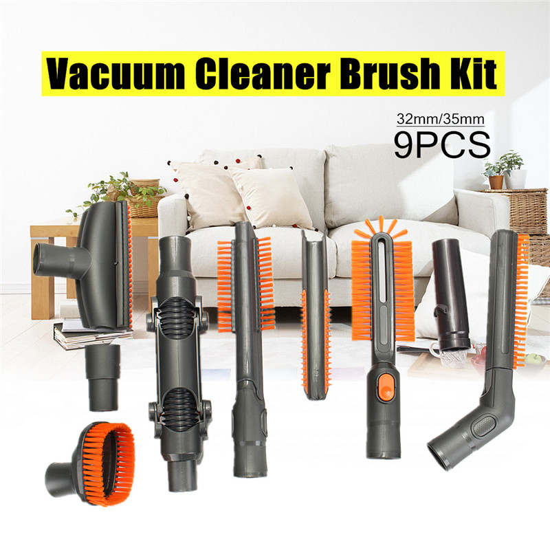9PCS Vacuum Cleaner Brush Tool Adapter Kit for Dyson Vacuum Cleaners DC Series fit 32mm/35mm Diameter Fitting Deeper Clean vacuum cleaning kit attachement kit dusting dusting brush nozzle crevices tool upholster tool for 32mm