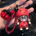 Cute Mickey Minnie Mouse Bee Ladybird Bell Decoration Monchichi KeyChain Kiki Women Bag Charm KeyRing K027-Ladybird+BR