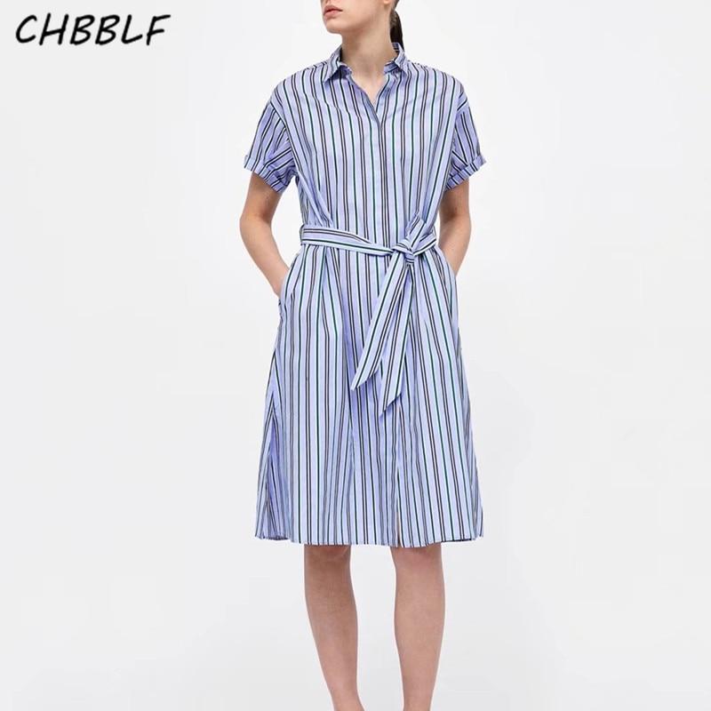 CHBBLF women elegant striped loose dress bow tie sashes ladies summer office wear dresses vestidos BGB8147