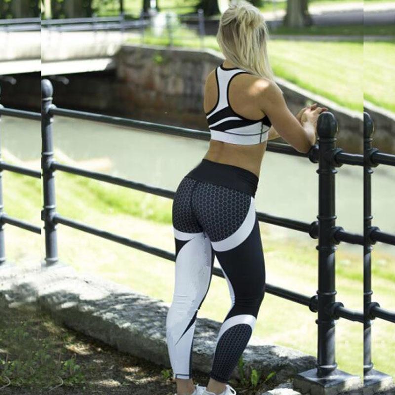 Mesh Pattern Print Leggings Fitness Leggings For Women Sporting Workout Leggins Jogging Elastic Slim Black White Pants 5