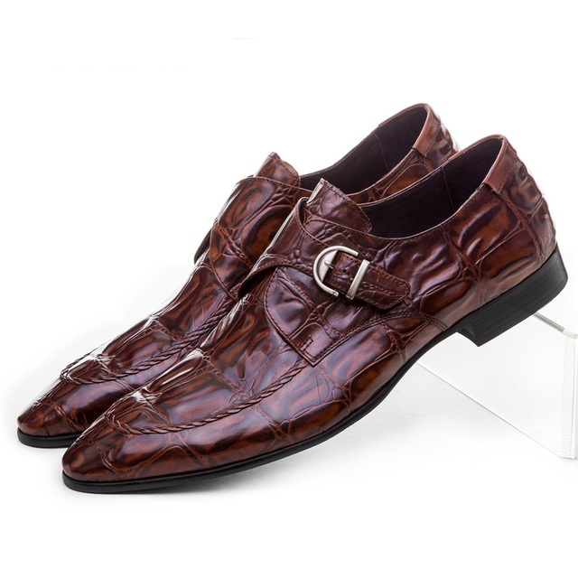 Crocodile Grain brown tan / black mens dress shoes genuine leather wedding shoes casual mens business shoes with buckle Formal Shoes