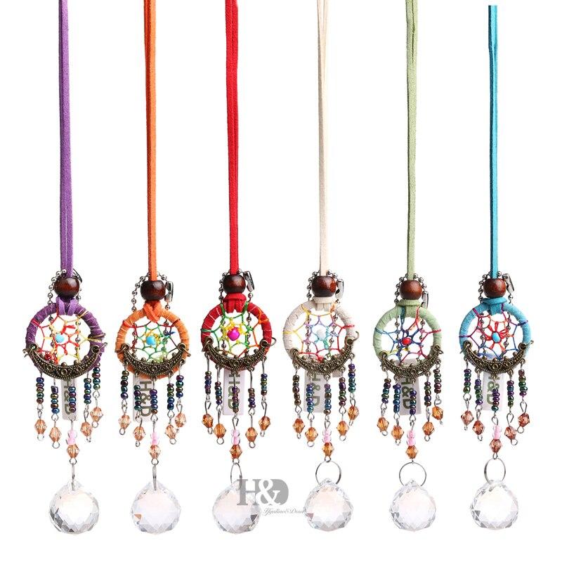 H&D 6 Colors Dream Catcher With Prism Ball Hanging Pendant Handmade Rainbow Maker Crystal Suncatcher Home Window Hanging Decor