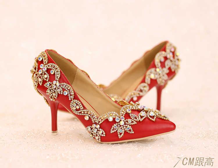 42e68f070 ... Женские туфли-лодочки 2017 г. свадебная обувь красного цвета свадебные  туфли на высоком каблуке ...