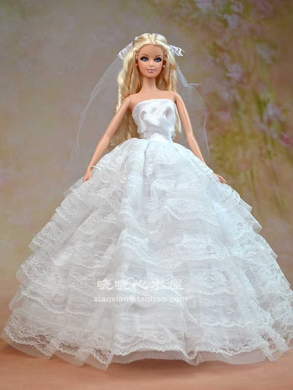 Free Shipping White Pink Wedding Dress For Barbie Doll Accessories In Dolls From Toys Hobbies On Aliexpress