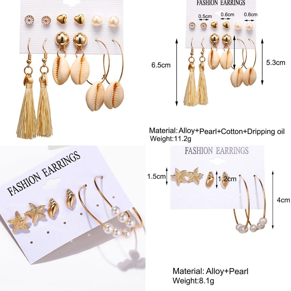 HOCOLE Bohemian Shell Earrings For Women Fashion Pearl Conch Geometric Drop Dangle Earring Set Statement Female Beach Party Gift in Drop Earrings from Jewelry Accessories