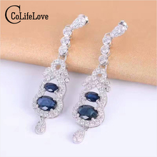 Luxurious sapphire drop earrings natural dark blue sapphire gemstone solid 925 silver gemstone earrings for woman silver earring