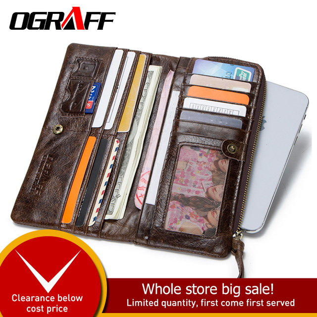 OGRAFF Genuine Leather Wallet Men Coin Purse Clutch Male Wallet Long Phone Wallet Cardholder Credit Card Holder Money Bag Walet